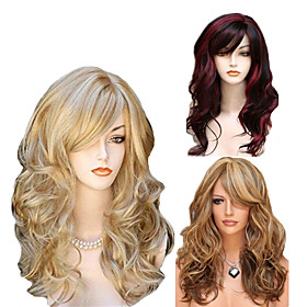 Synthetic Wig Body Wave Side Part Wig Long Medium Length Light golden Light Brown Wine Red Synthetic Hair 65 inch Women's Party Highlighted / Balayage Hair Mid
