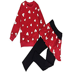 little girls clothing set outfit heart print fleece sweatshirts top and leggings set 3t Listing Date:09/27/2020