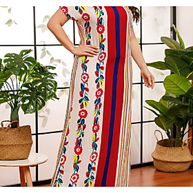 Women's Chiffon Dress Maxi long Dress - Short Sleeve Striped Print Summer Plus Size Casual Capped Loose 2020 Red L XL XXL 3XL