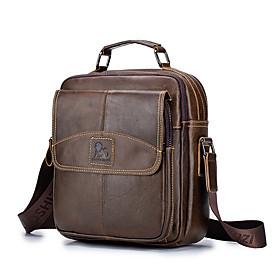 Men's Bags Cowhide Crossbody Bag Zipper for Daily / Office  Career Brown