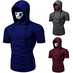 Men's Hoodie with Mask Running Shirt Short Sleeve Summer Cotton Thermal Warm Breathable Soft Running Jogging Training Sportswear Solid Colored Normal Top Black