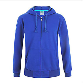 Men's Hoodie Zip Up Hoodie Sweatshirt Solid Colored Sports  Outdoors Hoodies Sweatshirts  Deep Blue Hemp ash White