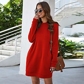 Women's Shift Dress Short Mini Dress - Long Sleeve Solid Color Pocket Spring Fall Casual Loose 2020 Black Blue Red Blushing Pink Light Blue S M L XL XXL
