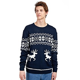 Men's Christmas Geometric Animal Pullover Acrylic Fibers Long Sleeve Sweater Cardigans Crew Neck Winter Navy Blue