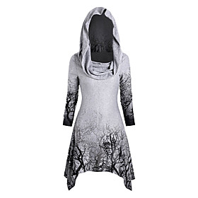 Women's Halloween Tunic Graphic Prints Long Sleeve Print Asymmetric Off Shoulder Tops Halloween Basic Top White Black Purple