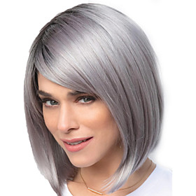 Synthetic Wig Straight Bob Pixie Cut Asymmetrical Wig Short Grey Synthetic Hair 14 inch Women's Color Gradient Natural Hairline Exquisite Dark Gray White