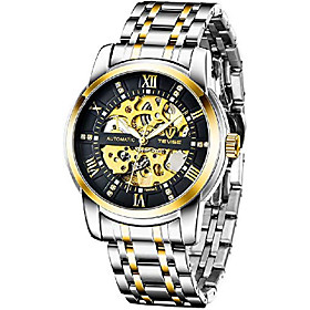 men's mechanical watch stainless steel skeleton automatic watch waterproof business watches for men