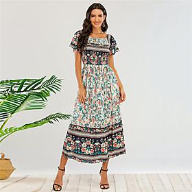 Women's A-Line Dress Short Mini Dress - Sleeveless Floral Print Summer Off Shoulder Boho Holiday 2020 Green XS S M L