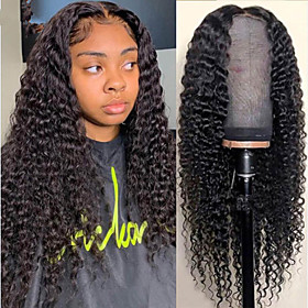 Synthetic Wig Afro Curly Water Wave Middle Part Wig Long Very Long Black Synthetic Hair 65 inch Women's Fashionable Design Dark Roots Middle Part Black