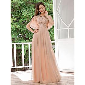 Women's A-Line Dress Maxi long Dress - Half Sleeve Solid Color Sequins Spring Fall Formal Elegant Party Slim 2020 Beige S M L XL XXL 3XL 4XL