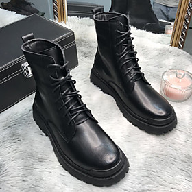 Men's Boots Work Boots Casual Daily Leather Booties / Ankle Boots Black Fall