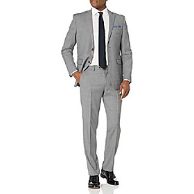 butamp; #39;s slim fit, 2pc suit with finished bottom hem, grey solid, 48 short
