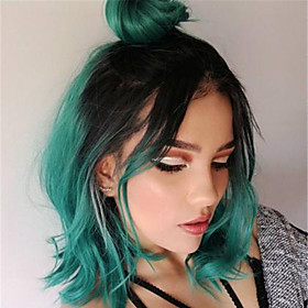 Synthetic Wig Straight Middle Part Wig Short Black / Dark Green Synthetic Hair Women's Cosplay Cool Green