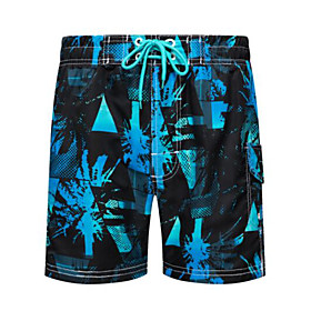 Men's Boho Bottoms Bikini Bottoms Beach board shorts Swimsuit Lace up Floral Swimwear Bathing Suits Blue Orange Green