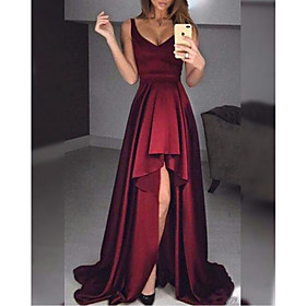 A-Line Minimalist Sexy Wedding Guest Formal Evening Dress V Neck Sleeveless Sweep / Brush Train Satin with Ruffles 2020
