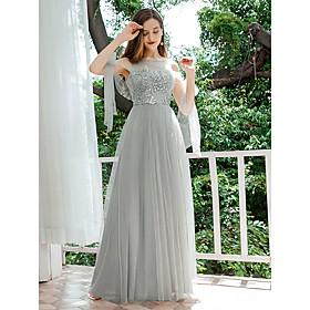 Women's A-Line Dress Maxi long Dress - Sleeveless Solid Color Sequins Spring Fall Formal Elegant Party Slim 2020 Light gray S M L XL XXL
