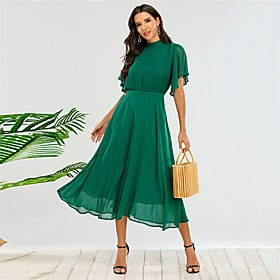 Women's A-Line Dress Midi Dress - Half Sleeve Solid Color Fall Elegant Party 2020 Green L XL 3XL 4XL