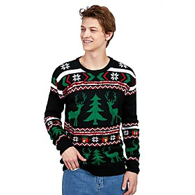 Men's Christmas Geometric Animal Pullover Acrylic Fibers Long Sleeve Sweater Cardigans Crew Neck Winter Black