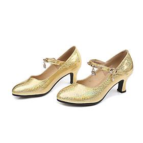 Women's Latin Shoes Heel Flared Heel PU Leather Buckle Glitter Black / Gold / Silver