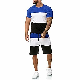 men's 2 piece outfit sport set spring summer casual short sleeve tops  short pants tracksuit