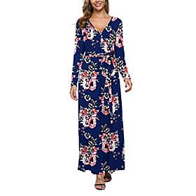 women long sleeve maxi dress casual long dresses beach dresses bohemian printed dresses (fp navy blue,s) Listing Date:09/14/2020