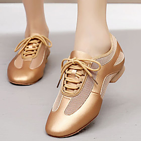 Women's Dance Shoes Latin Shoes / Modern Shoes / Practice Trainning Dance Shoes Heel Thick Heel Black / Gold / Performance / Leather