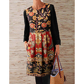 Women's Shift Dress Knee Length Dress - Long Sleeve Floral Button Print Spring Fall Casual 2020 Rainbow M L XL XXL 3XL