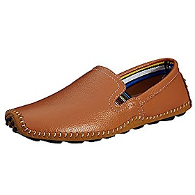 men's casual handmade driving shoes slip on loafer brown us 8.5