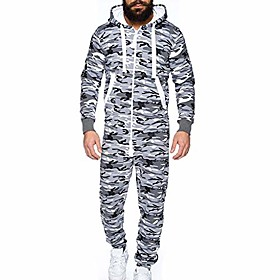 men's jumpsuit autumn winter casual hoodie onesies zipper long playsuit one piece jogging tracksuit (xxl, white)
