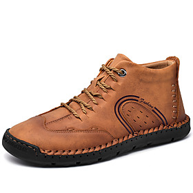 Men's Boots Casual Daily Outdoor Walking Shoes Faux Leather Wear Proof Booties / Ankle Boots Light Yellow / Black / Dark Green Fall / Winter