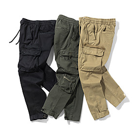 Men's Basic Chinos Tactical Cargo Pants Solid Colored Outdoor Black Army Green Khaki 30 32 34
