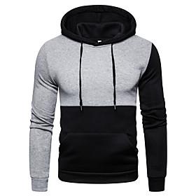 Men's Hoodie Color Block Hooded Basic Hoodies Sweatshirts  Gray