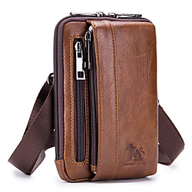 Men's Bags Nappa Leather Fanny Pack / Belt Pouch / Belt Bag Zipper for Daily / Holiday Dark Brown / Black