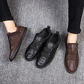 Men's Loafers  Slip-Ons Business / Casual Athletic Daily Running Shoes / Walking Shoes Microfiber Breathable Shock Absorbing Black / Brown Spring / Fall