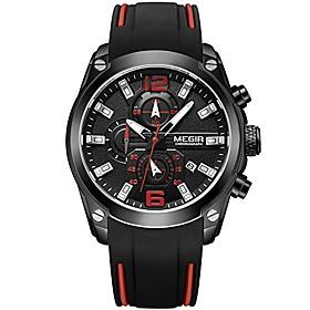 men's militayr sports chronograph quartz watches fashion silicone strap watch casual waterproof luminous wristwatch