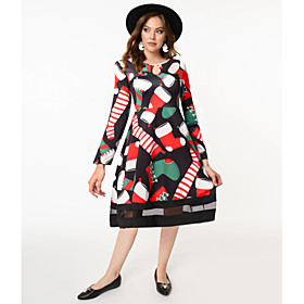 Women's A-Line Dress Knee Length Dress - Long Sleeve Print Patchwork Print Fall Casual Going out 2020 Black Red S M L XL XXL