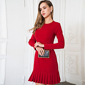 Women's A-Line Dress Knee Length Dress - Long Sleeve Solid Color Ruffle Ruched Patchwork Fall Elegant Slim 2020 Blue Red Yellow Light Blue M L XL XXL