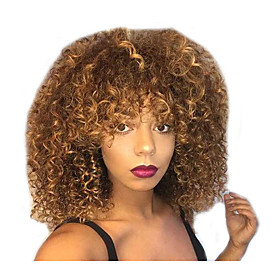 Synthetic Wig Curly Bouncy Curl Layered Haircut Wig Medium Length Light Brown Synthetic Hair Women's Cool Fluffy Light Brown