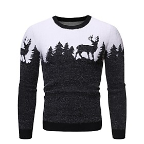 Men's Basic Knitted Animal Pullover Long Sleeve Sweater Cardigans Crew Neck Fall Winter Black Wine Navy Blue