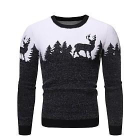 Men's Basic Knitted Animal Pullover Long Sleeve Sweater Cardigans Crew Neck Fall Winter Black Wine Navy Blue