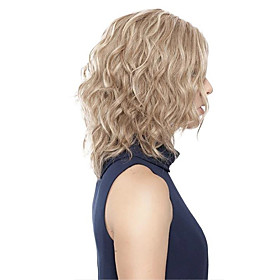 Synthetic Wig Loose Curl Asymmetrical Wig Short Light Blonde Synthetic Hair Women's Fashionable Design Classic Easy to Carry Blonde