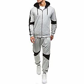 men's 2 piece tracksuit set, zipper hoodie coat jacket  elastic pants sweatpants for jogger sports gym fitness running gray