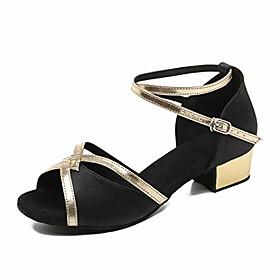 low heel satin latin dance shoes women ballroom performance shoes salsa practice dancing shoes with 1.2 inch heels(black-1.2 heel,8.5)