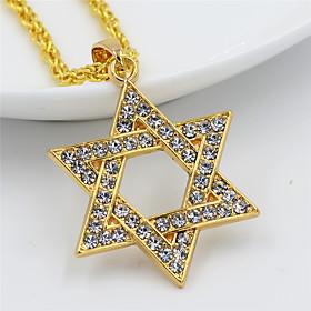 Men's Women's Clear Cubic Zirconia Pendant Necklace Necklace Long Star of David European Hip Hop Zircon Chrome Gold 75 cm Necklace Jewelry 1pc For Sport Gift M