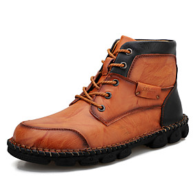 Men's Boots Casual Daily Outdoor Walking Shoes Leather Wear Proof Booties / Ankle Boots Black / Red / Light Brown / Black Fall / Winter