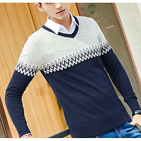 Men's Basic Knitted Color Block Pullover Cotton Long Sleeve Sweater Cardigans V Neck Fall Winter Black Blue Navy Blue