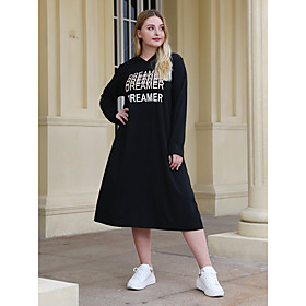 Women's Sheath Dress Midi Dress - Long Sleeve Letter Patchwork Winter Plus Size Casual Loose 2020 Black XL XXL 3XL 4XL