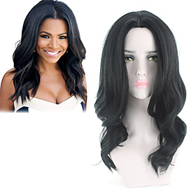 Synthetic Wig Curly Middle Part Wig Long Black Synthetic Hair 16 inch Women's Classic Exquisite Fluffy Black