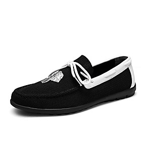 Men's Loafers  Slip-Ons Business / Classic / Casual Daily Office  Career Tissage Volant Breathable Non-slipping Wear Proof White / Black / Gray Spring / Fall /