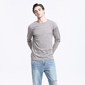 Men's Basic Knitted Solid Color Pullover Acrylic Fibers Long Sleeve Sweater Cardigans Crew Neck Spring Fall Purple Light gray Dark Gray